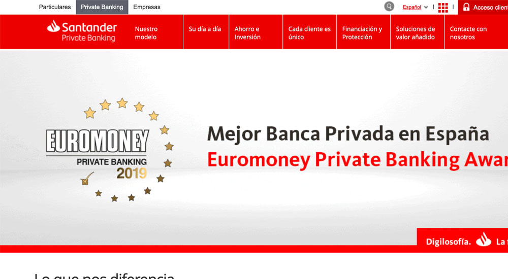 Información sobre Santander Private Banking